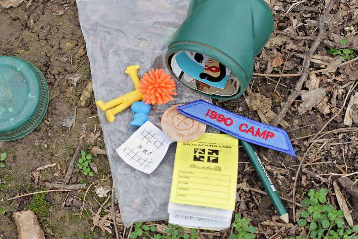 Geocaching with kids - what's inside a geocache