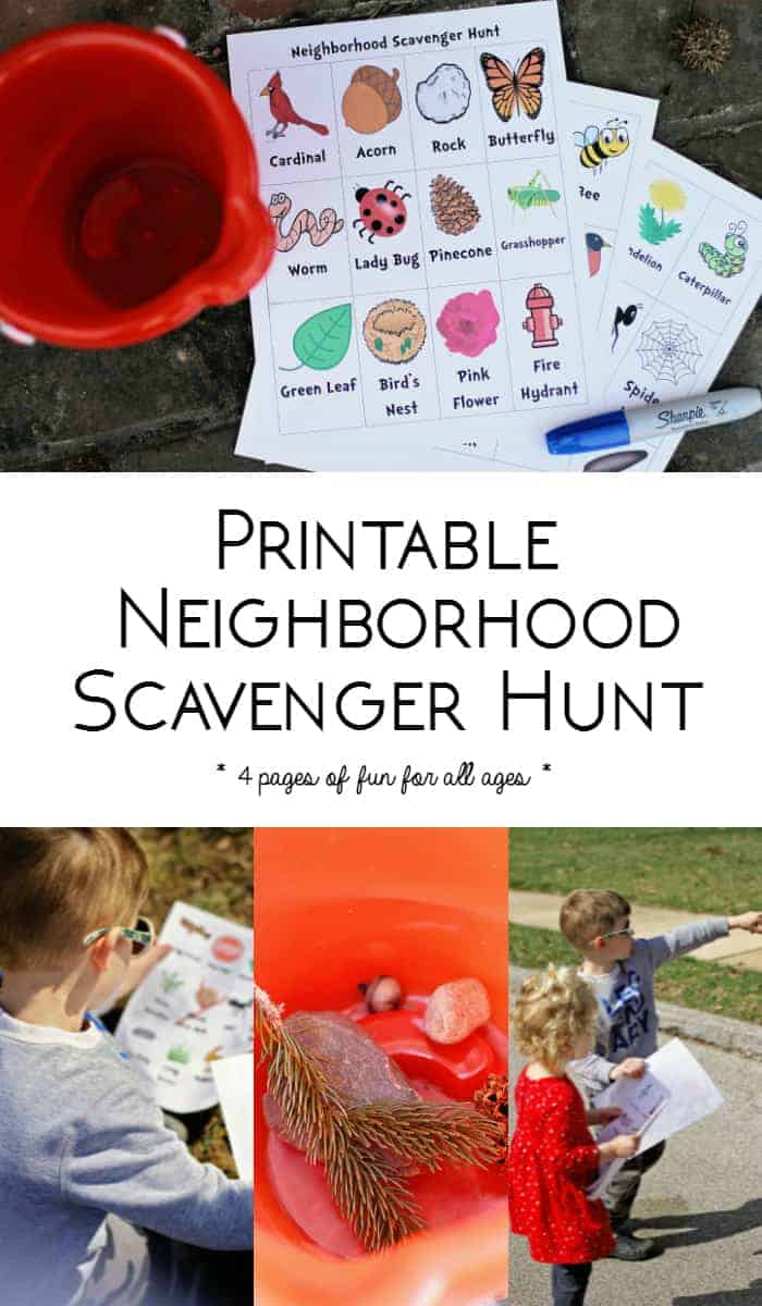 Printable Neighborhood Scavenger Hunt for Kids - This is great for kids of all ages! My kids love this.