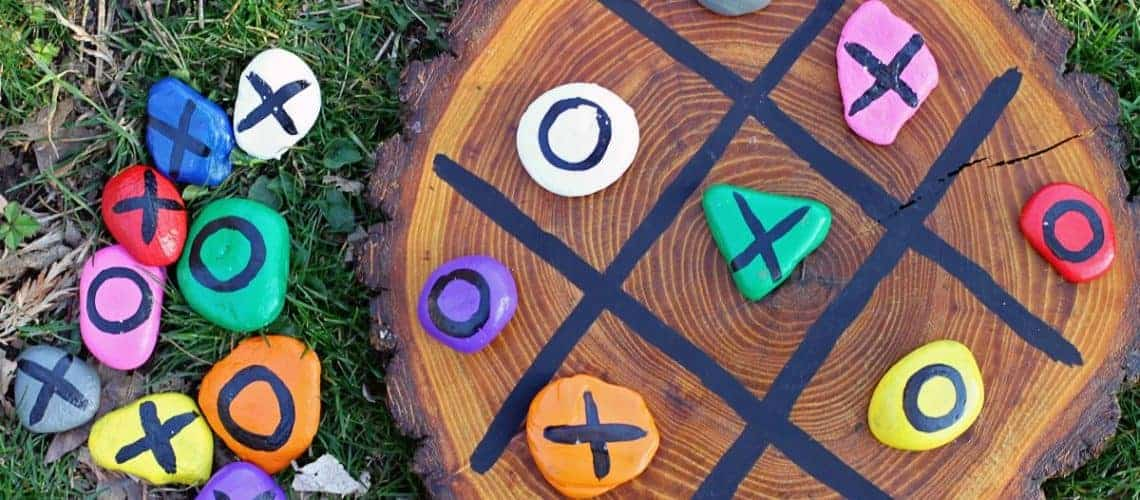 DIY painted rock tic tac toe
