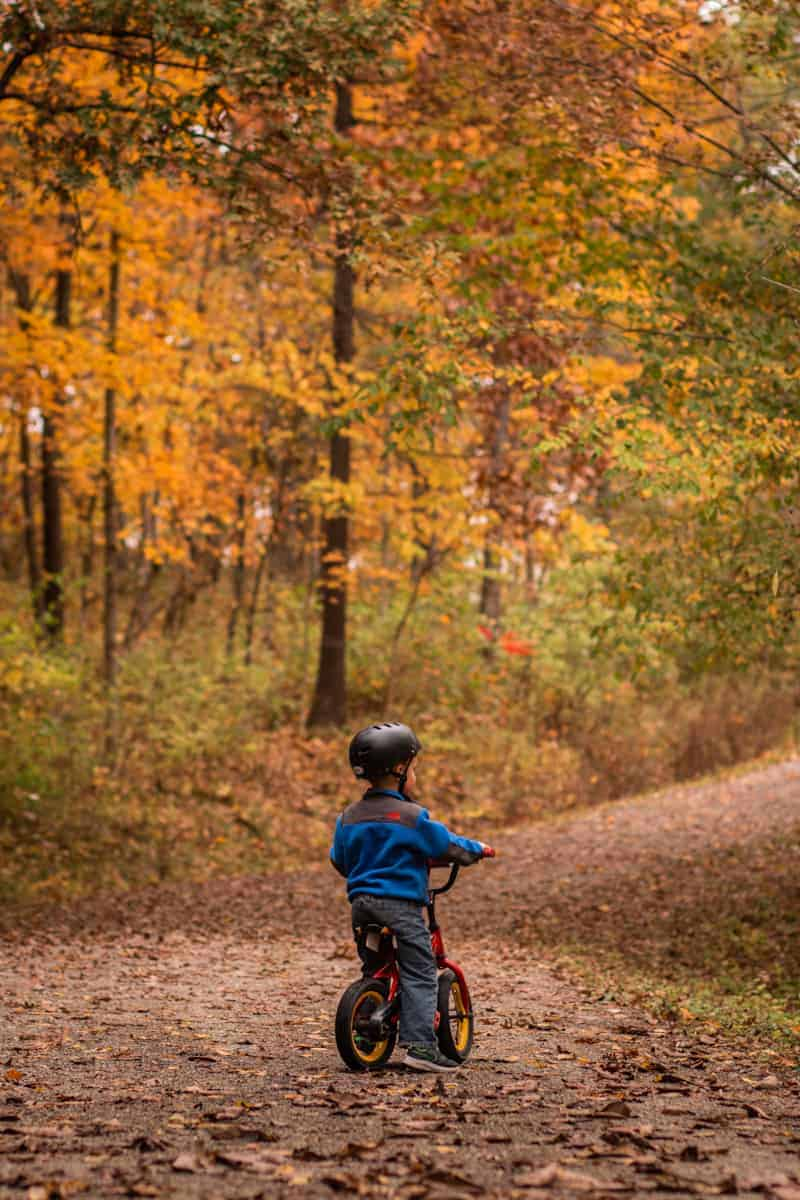 Child on red bike wearing helmet on an autumn leave covered trail