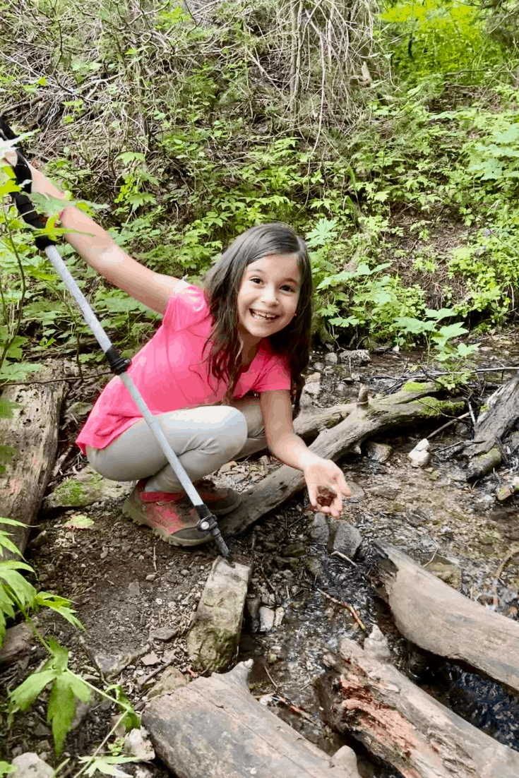 A child hiking and finding rocks on the trail. Streams and Rivers are a great place to find rocks!