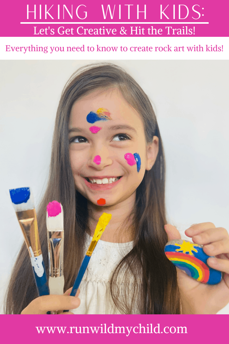 A child is excited to draw, paint, and create rock art! She is going to take the painted rocks out hiking so she can hide them for other hikers. Children love to get creative and go outside.