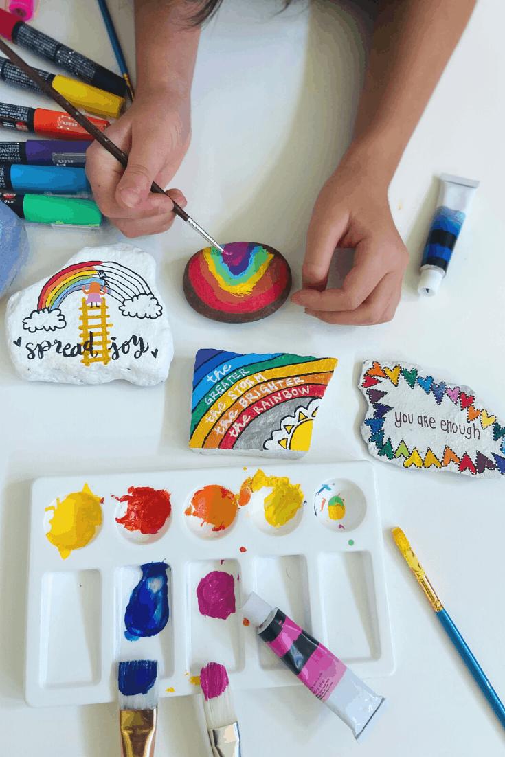 Rock Painting Fun Rainbows and Art Supplies