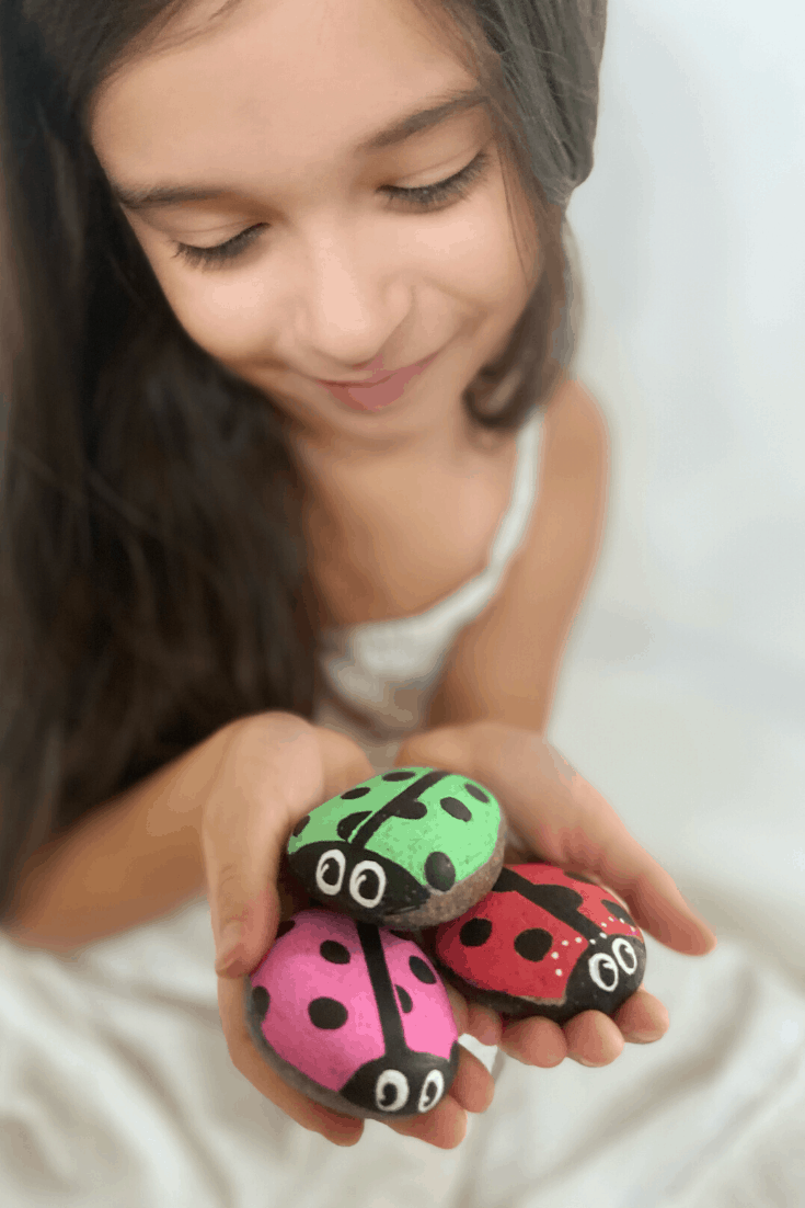 little girl with painted lady bug rocks